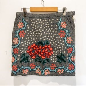 Anthropologie Herringbone & embroidery mini skirt